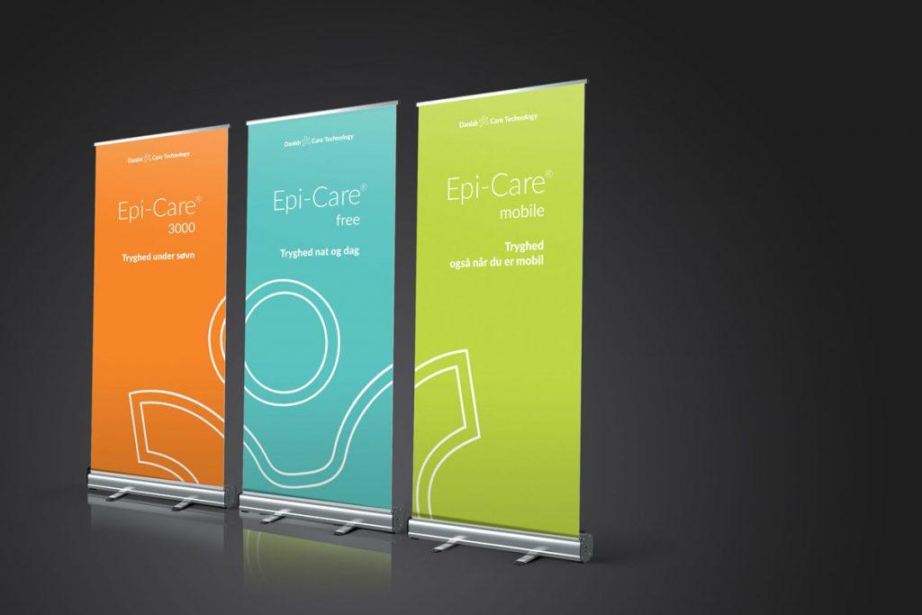 Brave har lavet roll-up til Danish Care Technology til deres messestand. Udvikling af farver og logo og kommunikationsstrategi. Brave fra Sorø