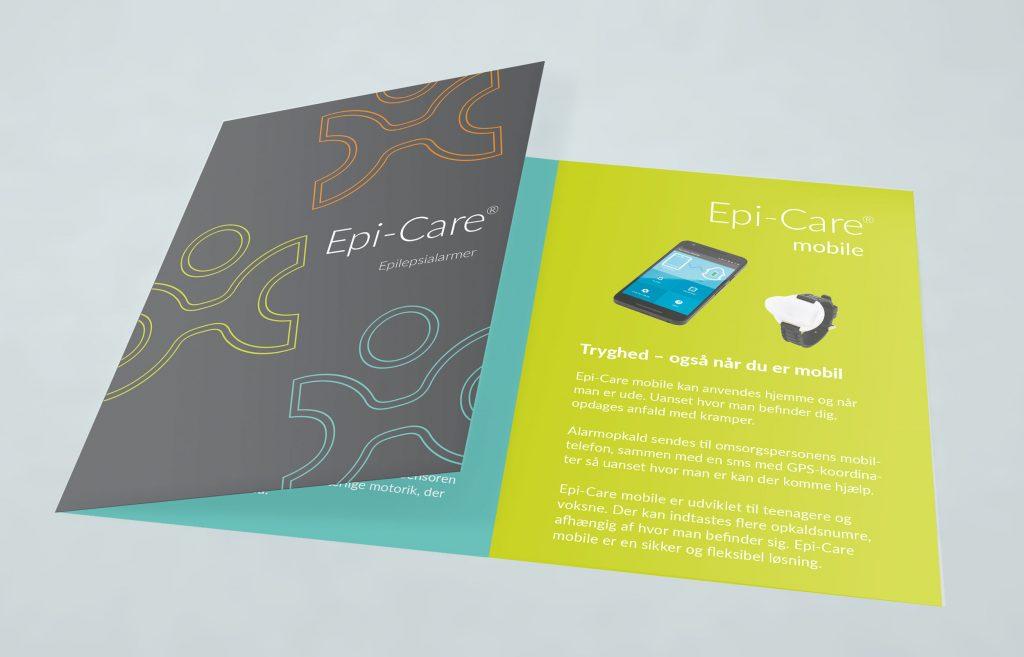 Folder til Epi-Care produkter. Messe og grafisk design fra Brave