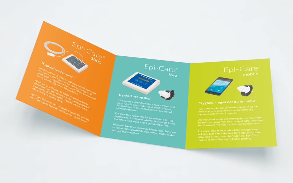 Design af brochure. Reklamebureau Brave. Folder til Epi-Care produkter – indersider
