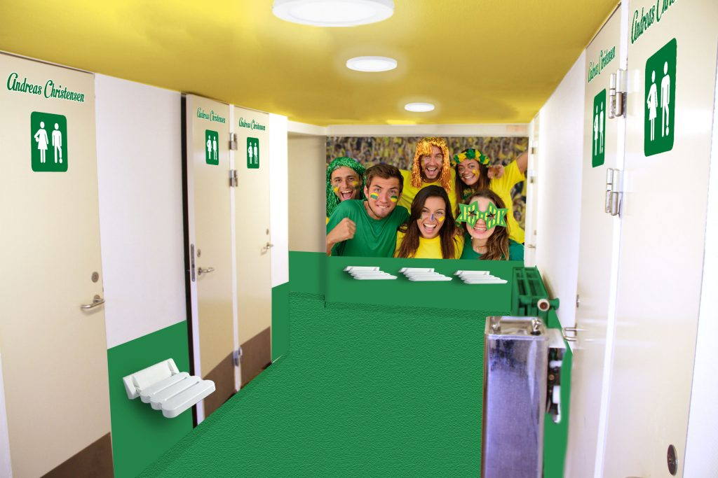 Lækre skoletoiletter. Design af nye skoletoiletter. Renovering af skoletoiletter. Her Gårdtoilet Banen fra Frederiksberg Kommune.
