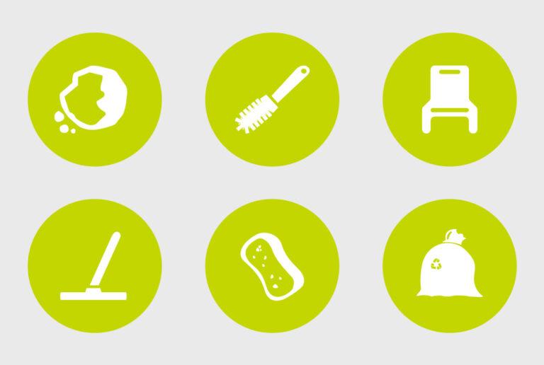 Elementer til miljøvæg for Miljøteam. Udviklet af Brave