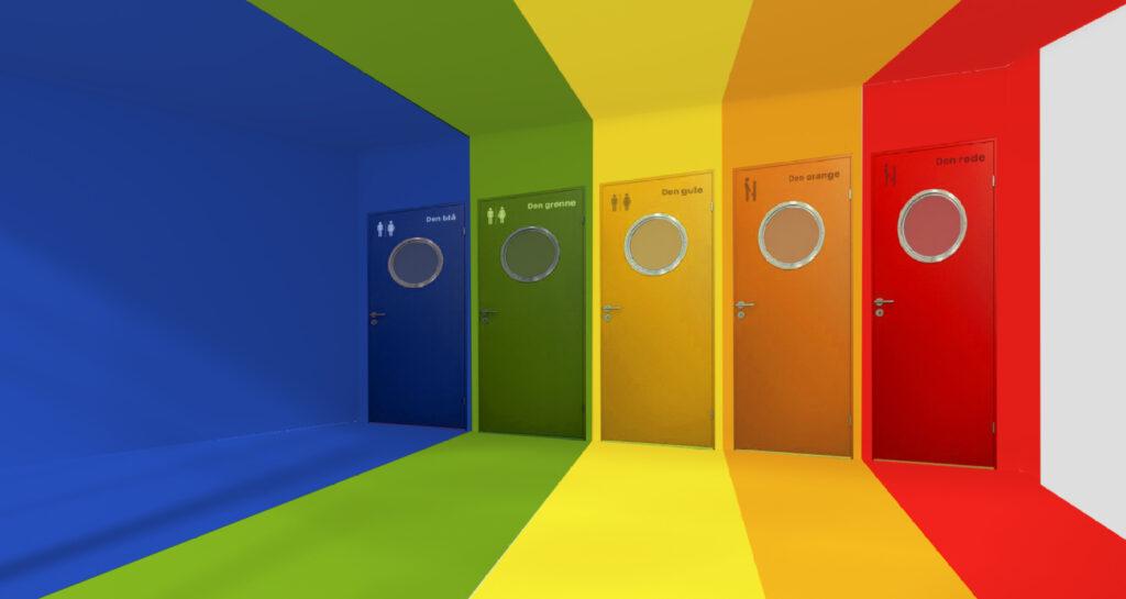 Festlige skoletoiletter. Bifrost. Et Brave design. Kom og tal byg og design af skoletoiletter. Ekspert i skoletoiletter