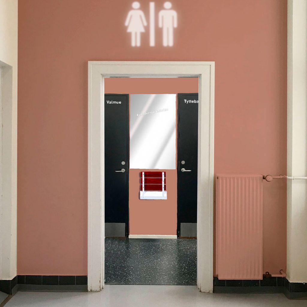 Skoletoiletter – navigering, farver allerede fra gangen. Brave